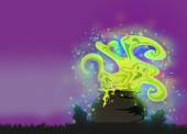 Cauldron with a boiling magic potion on an abstract background — Stock Photo