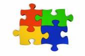 Color metallic puzzles — Photo