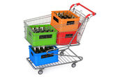 Shopping cart with crates beer — Stock Photo