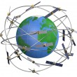 Space satellites in eccentric orbits around the Earth — Stock Photo #72973253
