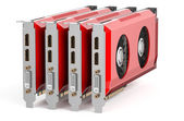 Set of red video cards — Stock Photo