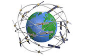 Space satellites in eccentric orbits around the Earth — Stock Photo