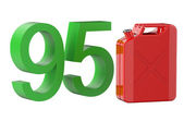 Steel red jerrycan with 95 gasoline — Stock Photo