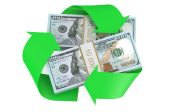 Packs of dollars and recycle symbol — Stock Photo