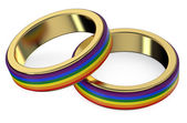 Gay Marriage Concept with Rainbow Rings — Stock Photo