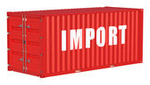 Import concept with cargo container — Stock Photo