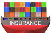 Container ship, insurance concept — Stock Photo