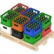 Drink crates on the wooden pallet — Stock Photo #80199606