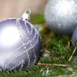 Silver Christmas ornaments in leaves — Stock fotografie