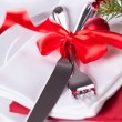 Romantic red Christmas table setting — Stock Photo #52676555