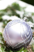 Silver Christmas ornaments in leaves — Stock Photo
