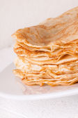 Delicious Pancakes on Plate Served — Stockfoto