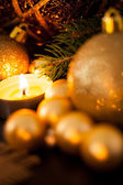 Warm gold Christmas candlelight background — Stockfoto