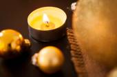 Warm gold Christmas candlelight background — Foto de Stock