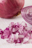 Fresh finely diced red onion — Zdjęcie stockowe