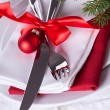 Romantic red Christmas table setting — Stock Photo #54159871