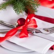 Romantic red Christmas table setting — Stock Photo #54159907