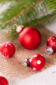 Red polka dot Christmas baubles — Stock Photo