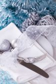 Stylish Christmas table setting — Stock Photo