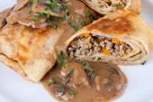 Savory mince pancakes or tortillas — Stock Photo