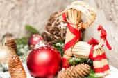 Christmas background with baubles and craft — Stock Photo