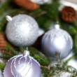 Silver Christmas ornaments in leaves — Stock Photo #55946813