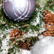 Silver Christmas ornaments in leaves — Stock Photo #55946931
