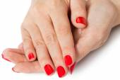 Woman with beautiful manicured red fingernails — Stock Photo