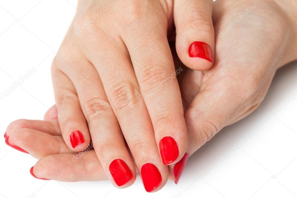 mujer con hermosa manicura u as rojas fotos de stock