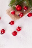Pretty red polka dot Christmas baubles — Photo