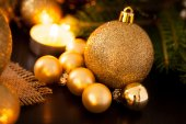 Warme gold christmas candle-light-hintergrund — Stockfoto