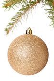 Christmas ball on branch of a fir tree — Stock Photo