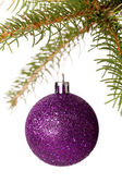 Christmas ball hanging from a branch of a fir tree — ストック写真
