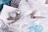 Stylish blue and silver Christmas table setting — Stock Photo