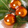 Shiny bright copper colored Christmas balls — Stock Photo #56791267