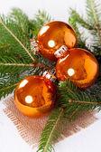 Shiny bright copper colored Christmas balls — Stock Photo