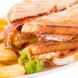 Club sandwich with French fries — Stock Photo #59405399