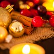 Gold and red Christmas candlelight — Stockfoto #59406587