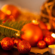 Gold and red Christmas candlelight — Stockfoto #59406683