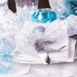 Blue and silver Christmas table setting — Stock Photo #59406835