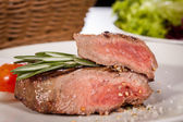 Medium rare beef steak — Stock Photo
