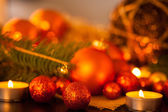 Gold and red Christmas candlelight — Stockfoto