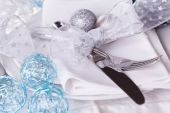 Blue and silver Christmas table setting — Stock Photo