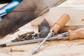 Drill with timber, screwdrivers — Stock Photo