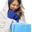 Woman holding a blue gift — Stock Photo #61430661