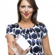 Smiling Woman with  white card — Stock Photo #66833485