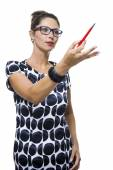 Serious Woman with Ballpoint Pen — Stock Photo