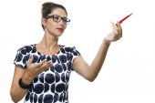 Woman  Holding Ballpoint Pen — Stock Photo