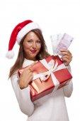 Xmas hediye ve para kadın ile — Stok fotoğraf