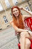 Pretty Woman Sitting on Chair — Stock fotografie